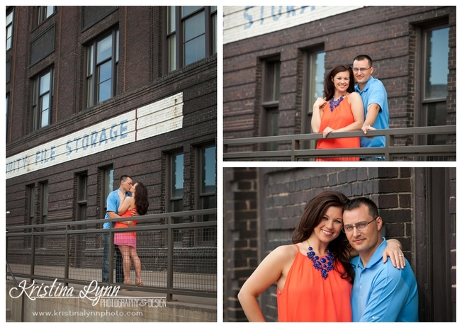 A midwest urban engagement session in Downtown Des Moines, Iowa by Denver Colorado based photograher Kristina Lynn Photography & Design.