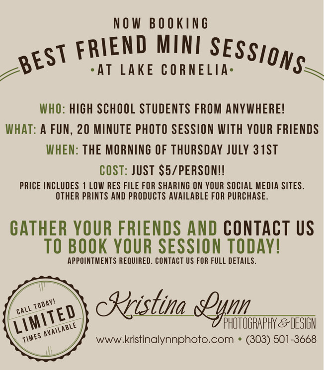 Best friend mini sessions for high schoolers by Denver photographer Kristina Lynn Photography & Design.