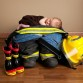 Newborn baby photo session with firefighter props by Littleton photographer Kristina Lynn Photography & Design
