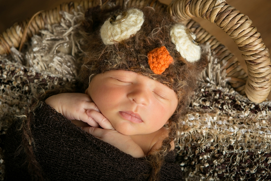 Newborn baby boy with hand knitted owl hat by Littleton photographer Kristina Lynn Photography & Design