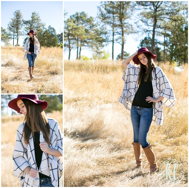 The grid pattern, oversized ponchos, and felt hats are a big fashion trend for fall 2015. Photographed by Kristina Lynn Photography & Design.