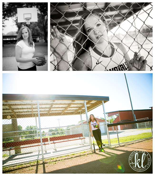 Editorial inspired senior photo session of a girl at a softball field.