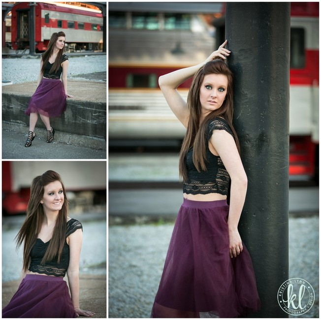 High school senior girl poses in front of train cars at Union Station in St. Louis Missouri by Denver photographer Kristina Lynn Photography & Design.