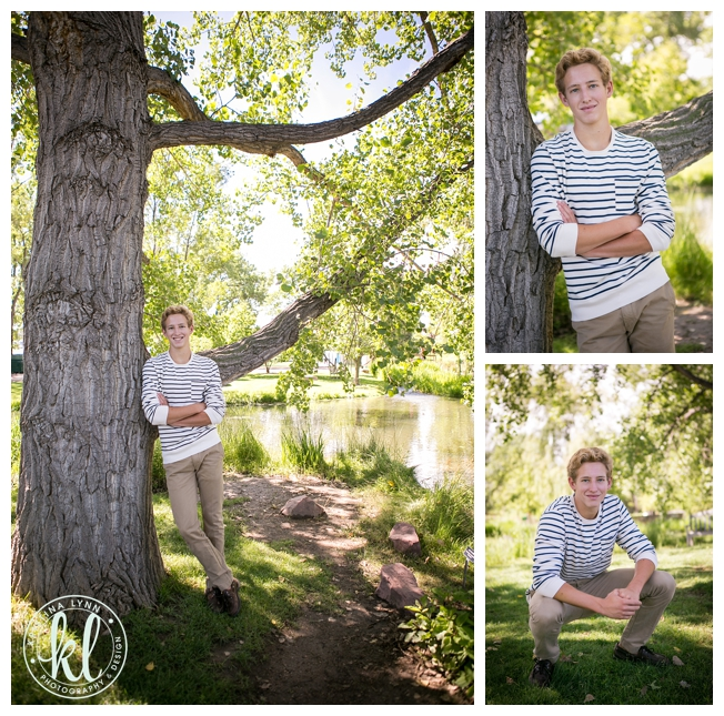 Casual and laid back teen boy at Hudson Gardens in Littleton, Colorado | By Kristina Lynn Photography & Design.