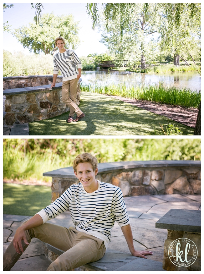 Teenage boy relaxing next to a pond for his photo shoot | Image by Kristina Lynn Photography & Design