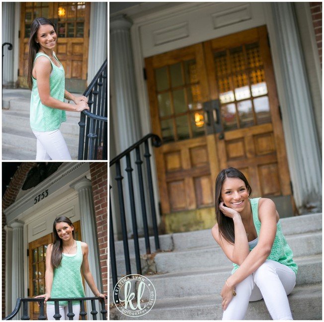 This old wooden door found in downtown Littleton Colorado was a great feature to put in the background of these senior photos. It adds just enough interest and I love how the warm tones plays off her teal tank top. | Image by Kristina Lynn Photography & Design.