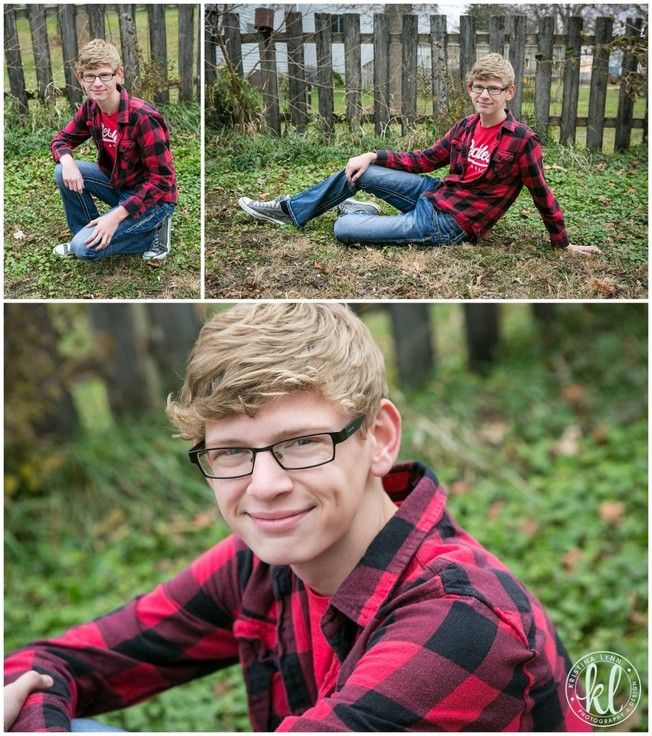 This red plaid shirt is great for this senior photo location. The complementary colors in this image really make the senior stand out.   Image by Kristina Lynn Photography & Design.