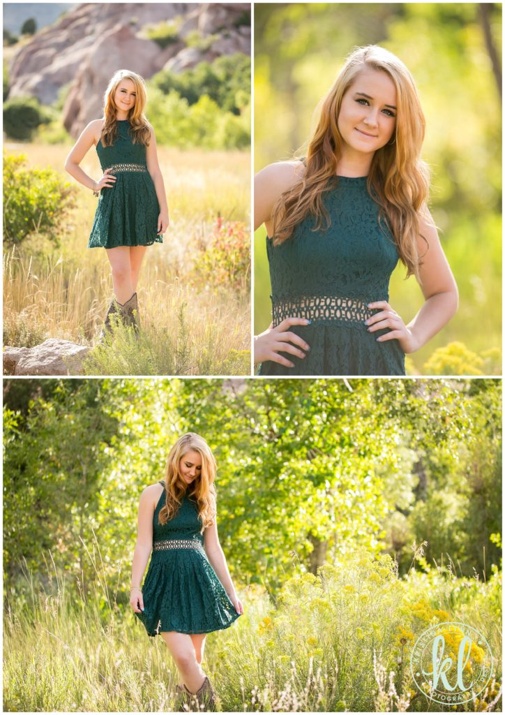 A teen girl in an emerald green dress photographed at the South Platte River park in Littleton, Colorado for her senior photo session.