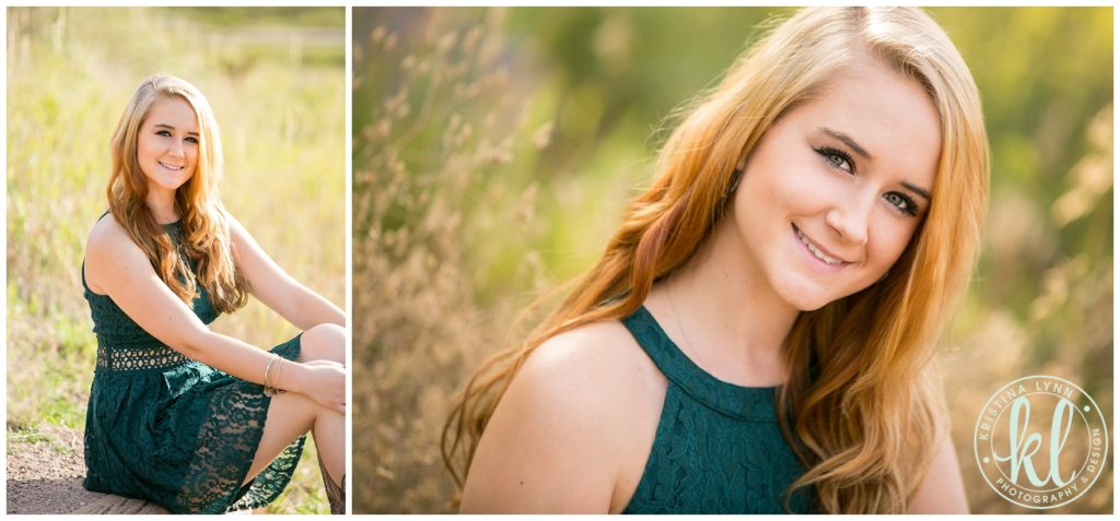 A teen girl sitting photographed at the South Platte River park in Littleton, Colorado for her senior photo session.
