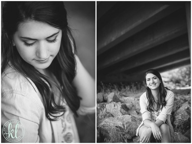 Editorial black and white images of a high school senior girl under a bridge.