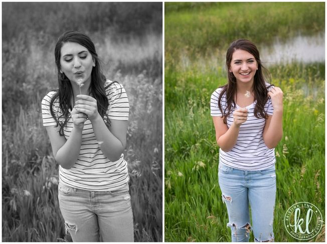Black and white image of a girl blowing dandelion flower.