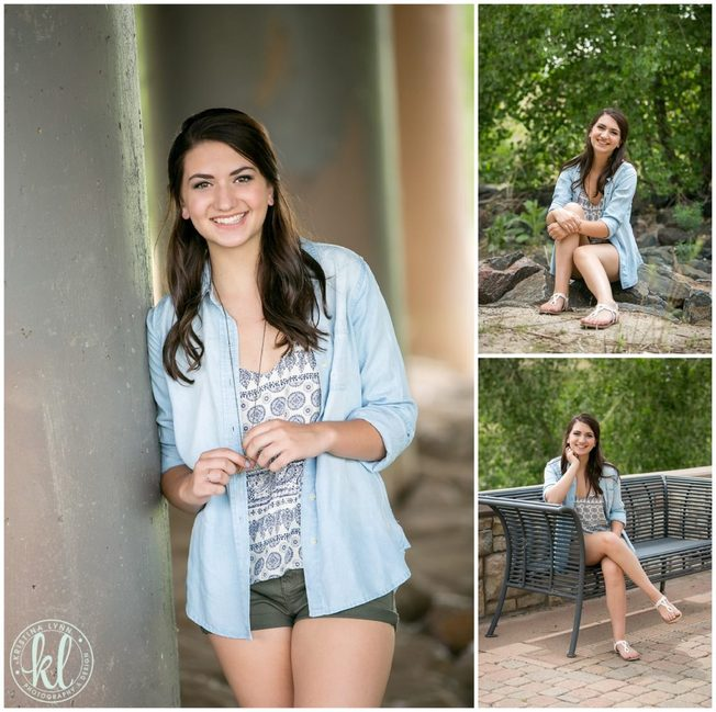 High school senior girl photographed in downtown Parker Colorado.