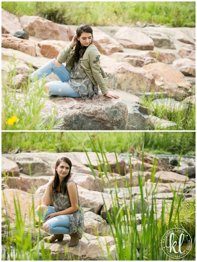 Photos from a senior photos session in a rocky river bed.