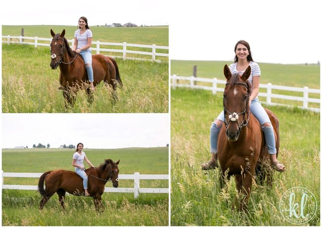 Teenage girl riding her horse during her senior photo session in Parker Colorado.