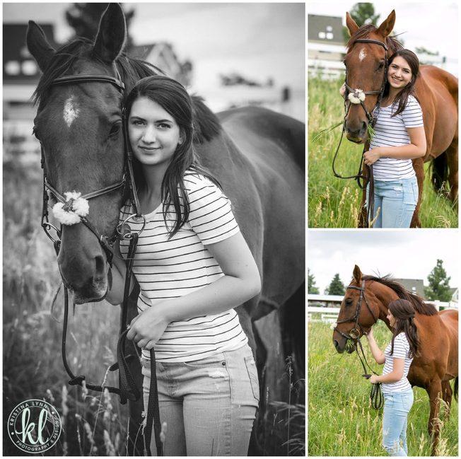 Photos of a high school senior girl at a horse ranch in Colorado.