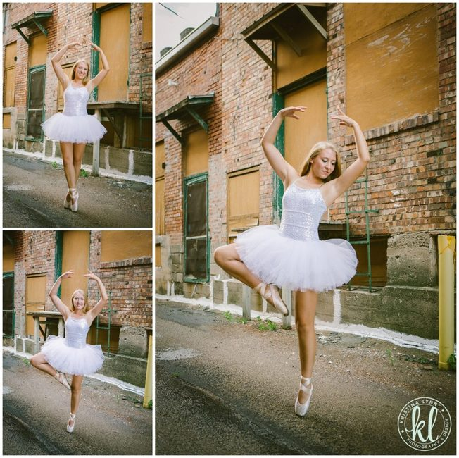 I love the contrast of the clean, white dance tutu and the grungy back alley in this senior session photographed in Clarion Iowa.