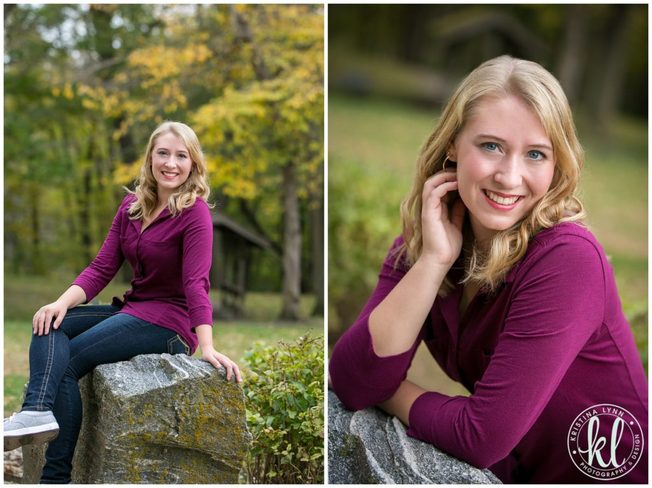 Dark jewel toned clothing works well for senior photos in the fall.