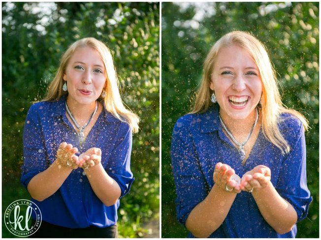 A teenager having fun with glitter during her photo session with Clarion Iowa portraits photographer Kristina Lynn.
