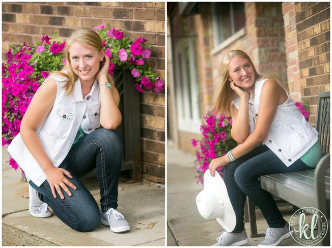 Flowering pots add a nice pop of color to an urban photo session.