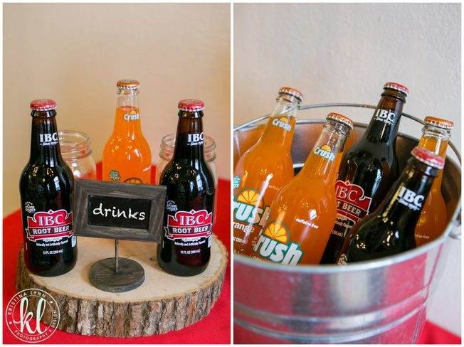 A rustic grad party theme with crush and rootbeer pop in a tin ice bucket.