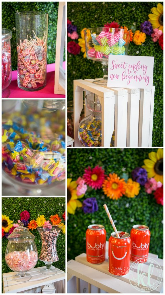 A candy buffet is a great way to add color to your tablescape.
