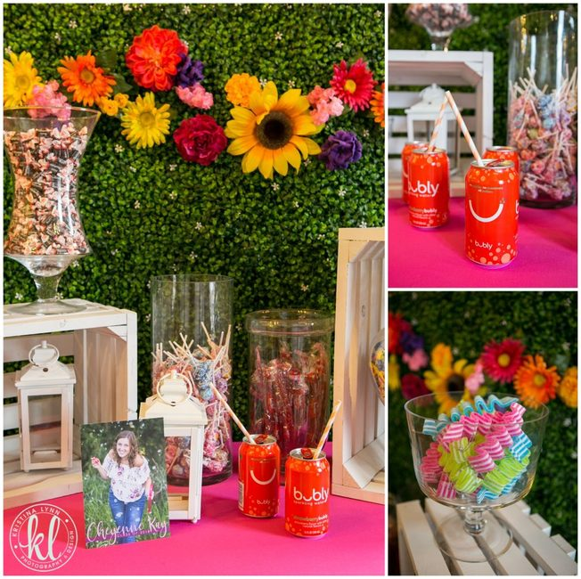 A floral background sets the stage for this bold and colorful garden party grad theme.