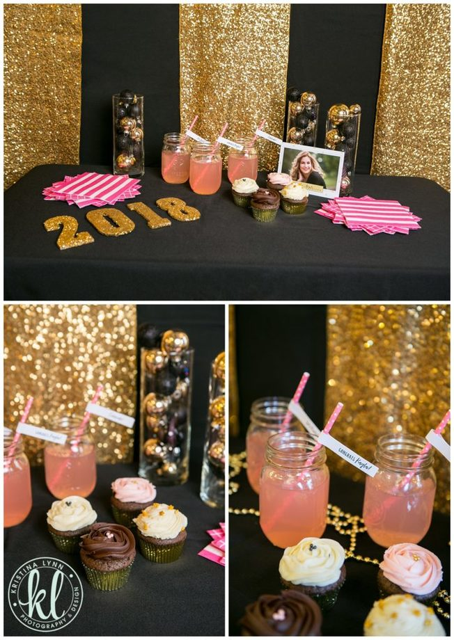 Gold sequin table runners made for a creative backdrop to this glam and glitzy grad party theme.