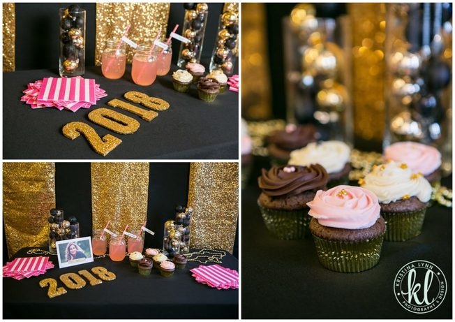 A bold black and gold graduation party theme with lots of sparkle and pops of pink.