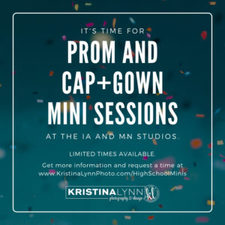 Come join Clarion Iowa and Stillwater Minnesota photographer for high school prom and cap and gown mini photo sessions.